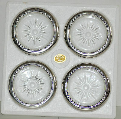 Set of 4 Crystal & Silver Plate Coasters by Leonard Italy in VGUC