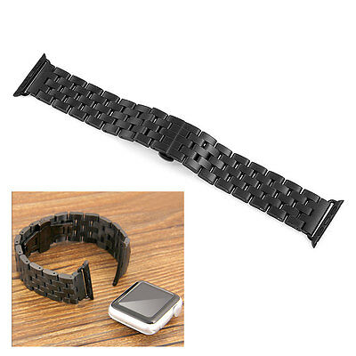 Stainless Steel Watch Band Bracelet Strap Connector for 38mm Apple iWatch Black