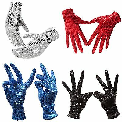 Adults Kids Unisex Sequin Sequined Glitter Gloves Show Dancer Cosplay Costume