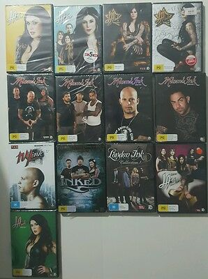 La ink Dvd Collection  13 MIX bulk lot TATTOO LONDON ink MIAMI ink  NY ink NEW