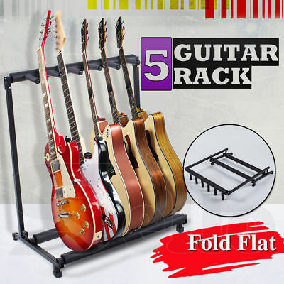 Stylish Guitar Stand Display Tidy Storage Rack Fits 5 Guitars Metal Padded Foam