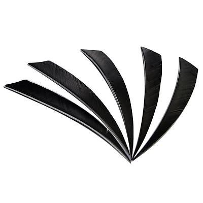 "100X Shield Feathers 5"" Fletchings Right Wing for Archery Hunting Arrows Black"