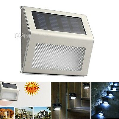 2X Stair Step Fence 3 LED Solar Powered Wall Lights Security Outdoor Garden Lamp