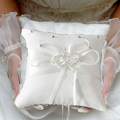 Romantic White Satin Flower Wedding Party POCKET Ring Bearer Pillow Cushion