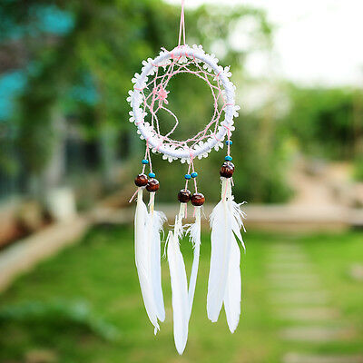 MINI White Flower Dream Catcher Net With feathers Wall Hanging Decoration Decor