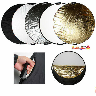 """110cm 43"""" Reflector 5in1 Multi Collapsible Round Photo Studio Light Handle Grips"""