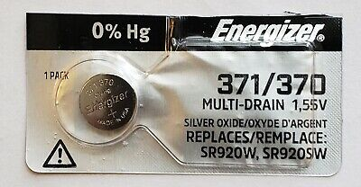 Energizer Watch Battery 371/370 replaces SR920SW, SR920W, V371, V370, & Type`Z`