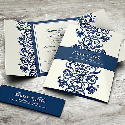 Personalised Gatefold Wedding Invitations with Envelopes + Belly Bands