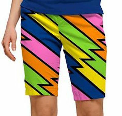 Loudmouth Golf Women's Bermuda Lightening Rod Shorts Sz 2 NWT