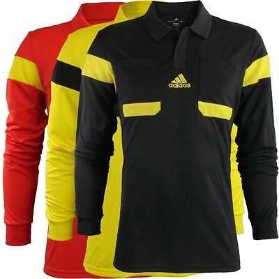 Adidas UCL Referee Jersey Men's football OrangeRed Yellow Black Long sleeve NEW