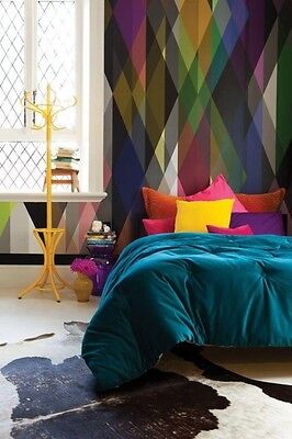 Colorful triangles vinyl wallpaper, self adhesive, removable. nursery mb053