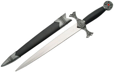 """Gothic Pentacle & Celtic Knots 15"""" Knife Dagger Ritual Athame w/ 9"""" Steel Blade"""