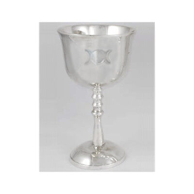 """Silver Plated Triple Moon Goddess Wicca Pagan Chalice Goblet Cup 5-1/2"""" Tall"""