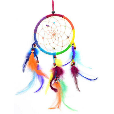 """Small Dream Catcher with Rainbow Multi-Colored Hoop Feathers & Beads 14"""" Length"""