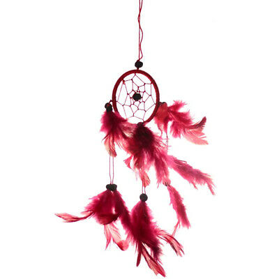 "Small Hanging Dream Catcher with Red Hoop Feathers & Beads 9"" Overall Length"