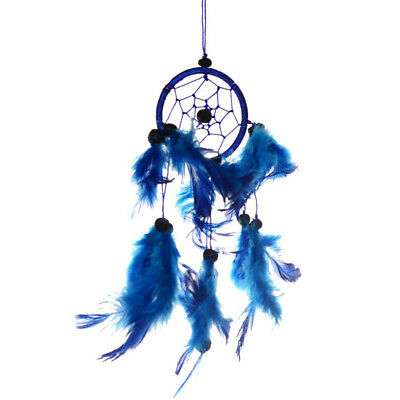 "Small Hanging Dream Catcher with Blue Hoop Feathers & Beads 9"" Overall Length"