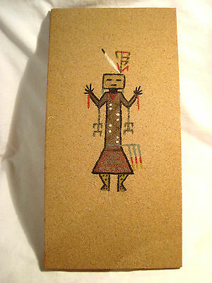Unframed Navajo Native American Indian Sand Painting Of Female Hunting Spirit