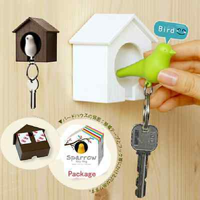Likable Nest Sparrow House Key Chain Ring Wall Hook Door Holders Bird Whistle