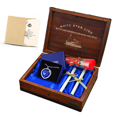 Titanic Heart of the Ocean, Blue Crystal Pendant with Pure Silver Necklace Box