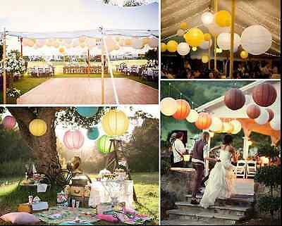 15x 20cm LED Paper Lanterns Round Hanging Lamp Battery Wedding Party Home Decor