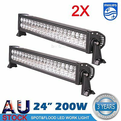 2x 24inch 200W LED Light Bar Flood Spot Work Offroad Driving LAMP UTE 4WD Boat