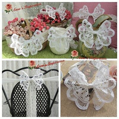 Battenburg Lace Wedding Bow Banquet Chair Back Decoration/Curtain Tieback~White~