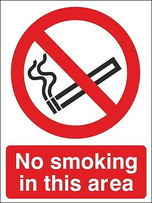 No Smoking In This Area Sign 150x200mm Rigid Plastic, Self Adhesive Vinyl