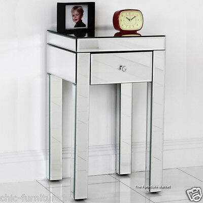 New Chic Furniture 1 Drawer Mirrored Lamp Table / End Table