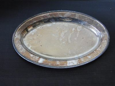 Silver Plated Serving Plate, Antique, Good Size, Oval, Marked Circa 1900