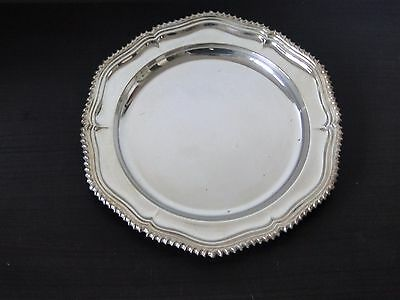 Silver Plated Serving Plate, Antique Good Size Fancy & Gadroon Marked Circa 1900