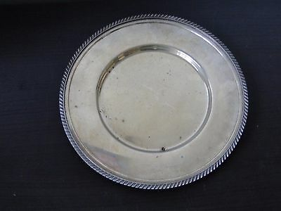 Silver Plated Serving Plate, Antique Good Size Round & Gadroon Marked Circa 1900