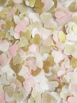 Gold, Light Pink, White Tissue Paper Heart confetti Wedding Christmas crackers
