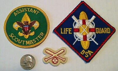 Vintage 3 Lot of Boy Scouts NOS Patches BaseBall & Bats Patch Scout Master Bsa