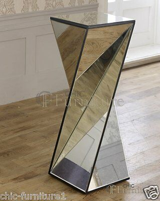 New Large Chic Furniture Mirrored Glass Twisted Phoenix Pedestal Table