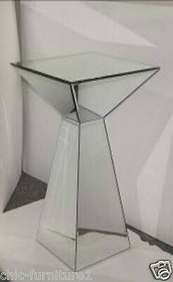 New Large Chic Furniture Mirrored Glass Pyramid Shaped Pedestal Table