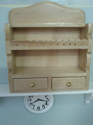 Dolls House Miniatures 1/12th Scale Accessory Pine Wall Unit with Draws DF835