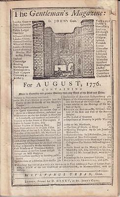 Declaration of Independence EARLY PRINTING Gentleman's Magazine August 1776