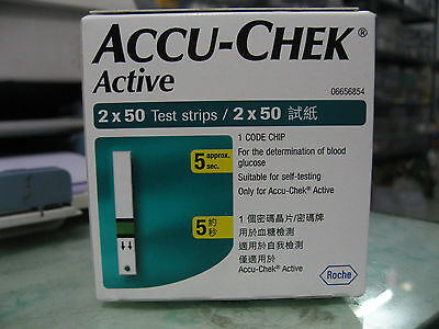 Accu Chek Active 100 Test Strips - 1 Code Chip - Expiry January 2020