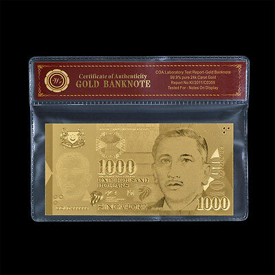 WR Singapore Dollar Bill Note $1000 Fine Gold Foil Banknote With Plastic Sleeve