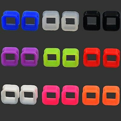 PAIR Soft Silicone Ear Plug Square Hollow Flesh Tunnel Ear Gauges Body Piercing