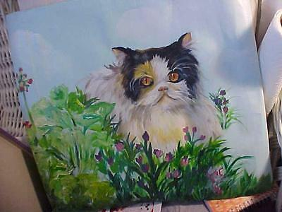 Cat Original Painting On Unstretched Canvas