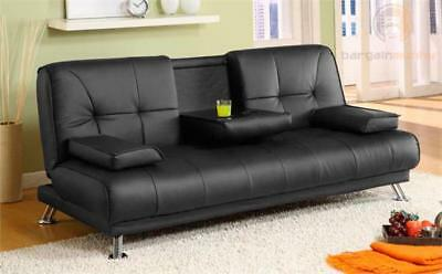 Modern Faux Leather 3 Seater Sofa Bed - Fold Down Table Living Room Furniture