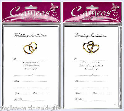 20 Day Time /Evening Wedding Invitations Sheets with Envelopes Choice of Design