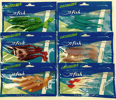 Soft Plastic Fishing Lures Squidgies Gulp 70mm-90mm for FLATHEAD SNAPPER 6 Packs
