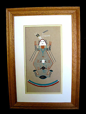 "Framed Navajo Native American Indian Sand Painting ""Mother Strength"" By J Yazzie"