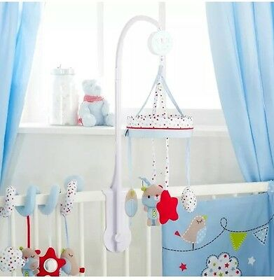 New Red Kite Musical Cot Mobile Bertie Bear Carousel Wind Up Cot Mobile Blue