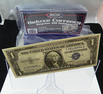 50 - BCW Deluxe Semi-Rigid 'Regular' Currency Bill Crystal Clear Made in the USA