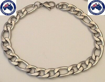 316L Solid Stainless Steel Bracelet Curb Figaro Men's Chain Silver Bulky & Heavy