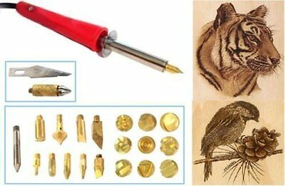 30W Pyrography Tool Wood Burning Craft Woodburning Pen With 24 Tips + Stand