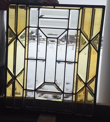 Set of 2 Rare Antique Stained Glass Transom Windows  c.1890 Beveled & Stained